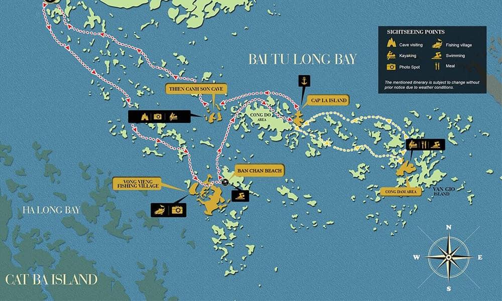 carte de la baie de Bai Tu Long