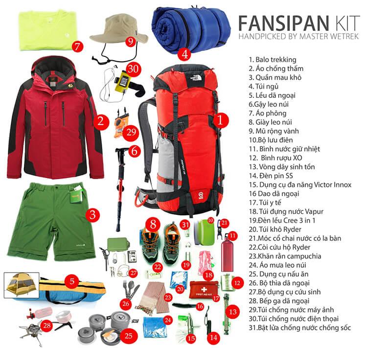 Médicaments et vêtements pour la conquête du mont Fansipan